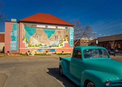 mural with blue truck